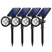 HMCITY Upgraded Solar Lights 2-in-1 Waterproof Outdoor Landscape Lighting Spotlight Wall Light Auto On/Off for Yard Garden Driveway Pathway Pool, Pack of 4 (White Light)