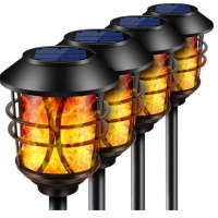 HMCITY Solar Lights Metal Flickering Flame Solar Torches Lights Waterproof Outdoor Heavy Duty Lighting Solar Pathway Lights Landscape Lighting Dusk to Dawn Auto On/Off for Garden Patio Yard, 4 Pack