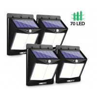 HMCITY 【70 LED/4 Packs】Solar Lights Outdoor, Wireless Solar Motion Sensor Lights IP65 Waterproof Security Solar Wall Lights, with 3 Modes for Front Door, Garden, Yard, Garage-1200 Lumens